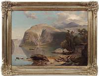 """Картина """"Женевское озеро"""" D.J. Duntze 19 век"""