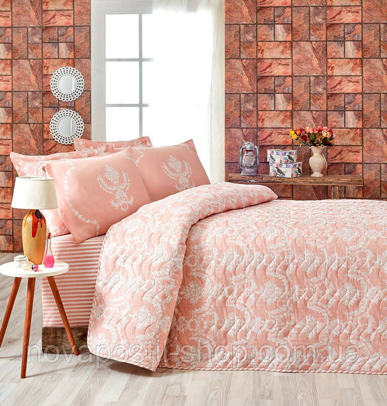Покрывало с наволочками Eponj Home PURE PUDRA розовое 200*220