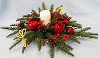 Композиция новогодняя Яблоко со свечой 25x25x17 см