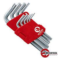 Набор Г-образных ключей TORX с отверстием 9 шт., Т10-Т50, Cr-V (HT-0604)