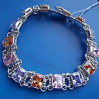 Шикарнейший серебряный женский браслет с разноцветными фианитами, 195мм