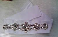 Свадебный пояс со стразовой брошью (05) для свадебного платья