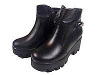 Ботинки женские демисезонные натуральная кожа черные  со змейкой (163)