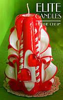 Свеча ручной работы с красными сердечками, красного цвета, 12 см высотой