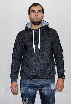 Кофта - толстовка теплая мужская, серая Nike реплика, фото 2