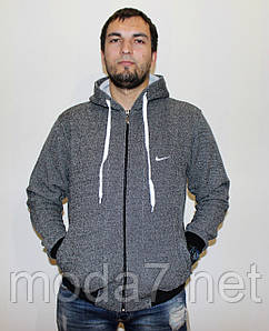 Кофта - байка теплая мужская, серая Nike реплика
