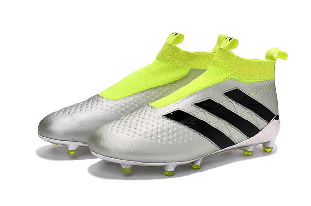Футбольные бутсы adidas ACE 16+ PureControl FG Silver Metallic/Core Black/Solar Yellow