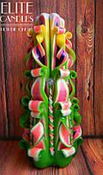 Свеча резная ручной работы с бусинками №3017 Разноцветная, 22 см высотой