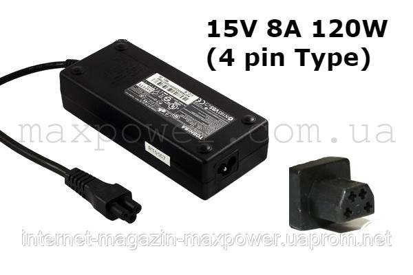 Блок питания для ноутбука Toshiba 15v 8a 120w (4 pin Type) Satellite A20 A40 A25 A45 Qosmio G15 G25 G35 G45