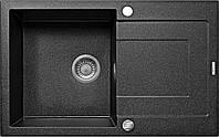 Мойка 1-камерная с полкойDeante RAPIDO, графитовый гранит, 780х490х190 мм, фото 1