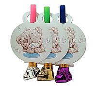 """Язычок  гудок карнавальный """" Мишка Тедди """" , 6 шт. в уп."""