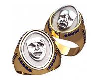 """""""Лица"""" - перекидное мужское золотое кольцо 585* пробы с Фианитами"""