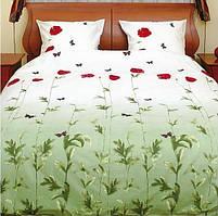 ТЕП Постельное белье 533 Маки зеленые с бабочками 100% хлопок, бязь пододеяльник 160х215, простынь 160х215, наволочка 70х70-2