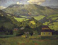 """Картина """"Хутор в горах"""". Лобода И.И. 1969 год"""