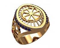 Овальное мужское золотое кольцо 585* пробы с узором и Фианитами