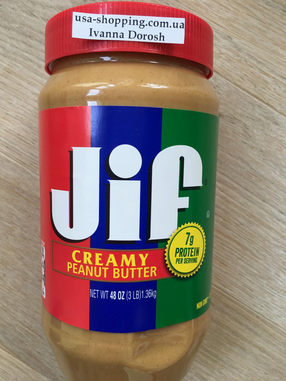 Вкусная арахисовая паста кремовая JIF, 1.36кг