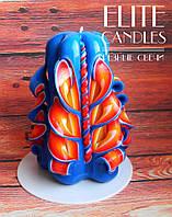 Свеча резная ручной работы с мастерской резьбой, пламенного цвета, 12 см высотой