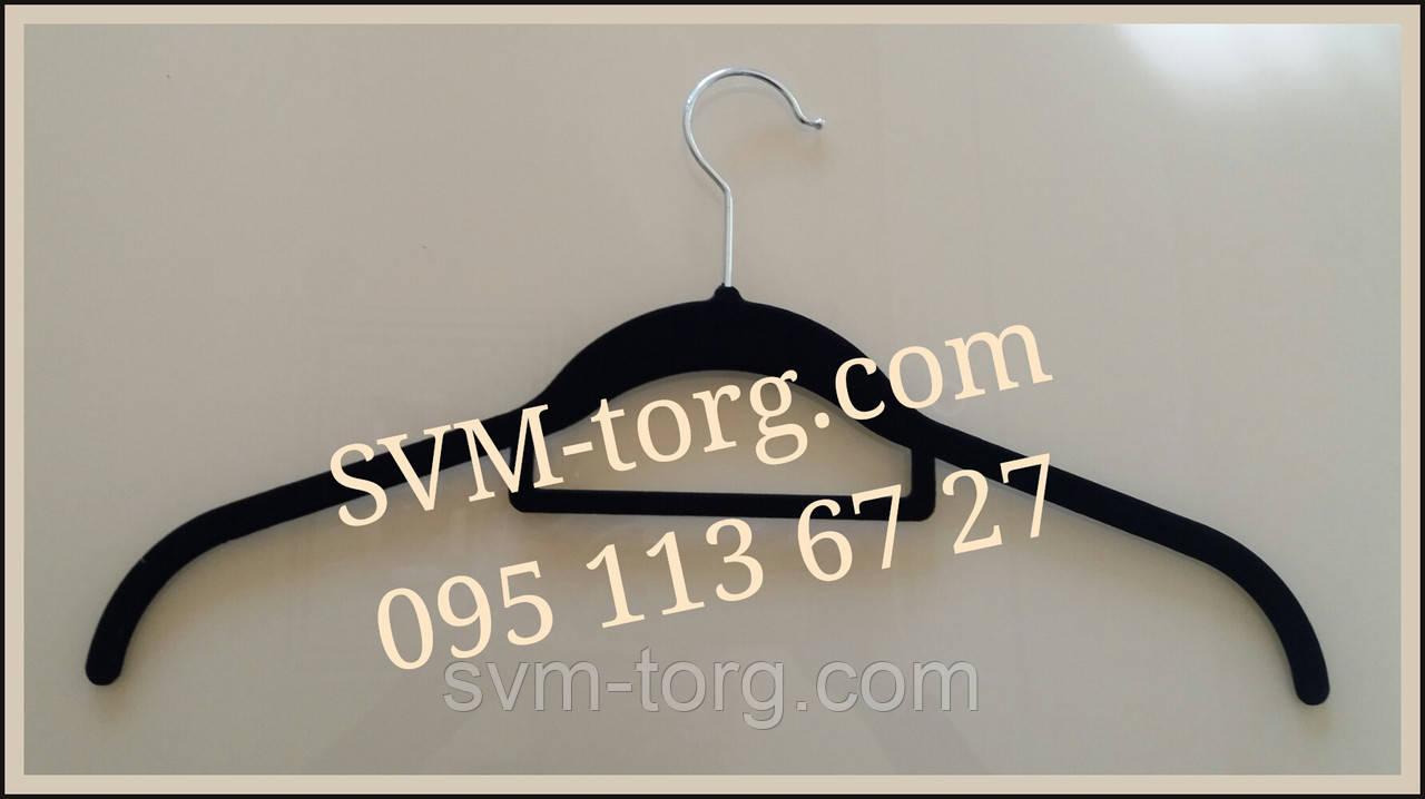 Вешалка чёрная с бархатным покрытием