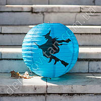 """Бумажный подвесной фонарик """"На метле"""", голубой, 30 см"""