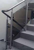 Ограждения и перила лестничные из нержавеющей стали со стеклом, артикул 02-05-0003
