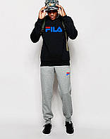 спортивный костюм FILA ( BLACK ) Синиее лого