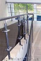 Ограждения и перила лестничные из нержавеющей стали со стеклом, артикул 02-05-0004
