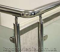 Ограждения и перила лестничные из нержавеющей стали со стеклом, артикул 02-05-0005