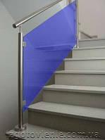 Ограждения и перила лестничные из нержавеющей стали со стеклом, артикул 02-05-0006