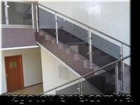 Ограждения и перила лестничные из нержавеющей стали со стеклом, артикул 02-05-0007