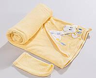 """Полотенце """"Жирафик"""". Уголок для купания. Полотенце с капюшоном. Пончо детское"""