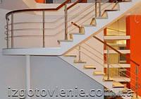 Ограждения лестничные из нержавеющей стали с деревянным поручнем, артикул 02-06-0004