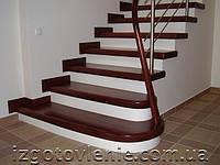 Ограждения лестничные из нержавеющей стали с деревянным поручнем, артикул 02-06-0005