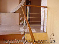 Ограждения лестничные из нержавеющей стали с деревянным поручнем, артикул 02-06-0007