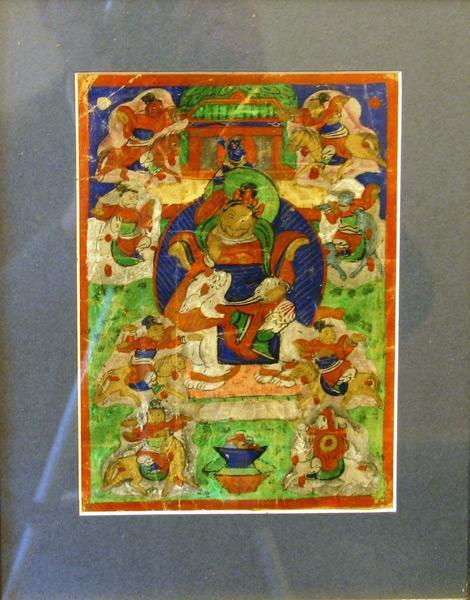 Картина Кубера Бог Богатства Буддизм 19 век