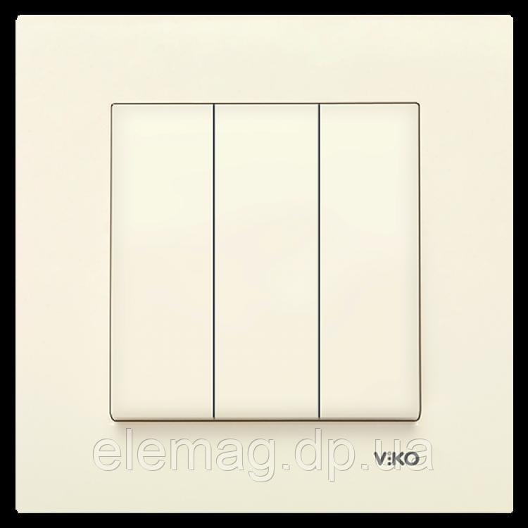 Выключатель 3-х клавишный KARRE крем