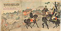 Атака на Цзинь-Чжоу японская гравюра 1904 год триптих