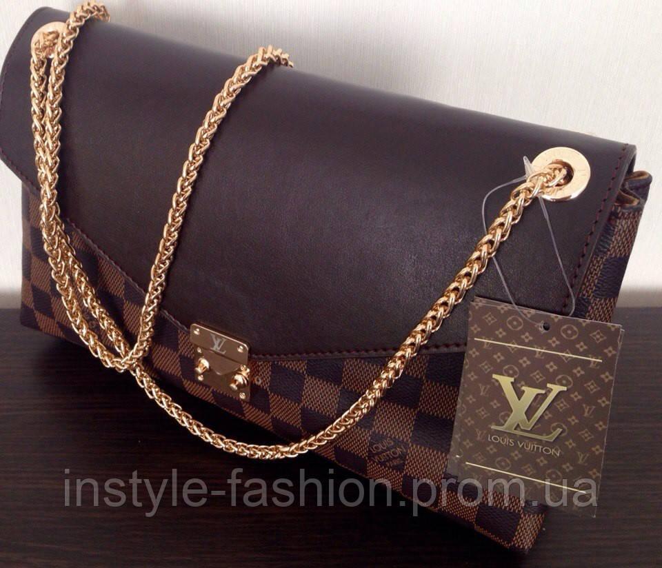 Сумка клатч Louis Vuitton Луи Виттон на цепочке цвет коричневый