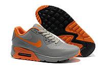 Кроссовки мужские Nike Air Max 90 Hyperfuse grey-orange (найк аир макс 90)