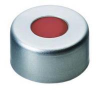 Обжимные крышки N 11, готовые наборы Крышка алюминиевая, серебряная, с отверстием Септа Красная резина/фторопласт бесцветный Твердость 40° по Шору А Т