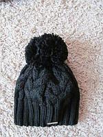 Зимняя шапка женская вязаная черная, вязаные шапки