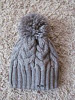 Зимняя шапка женская вязаная серая, вязаные шапки