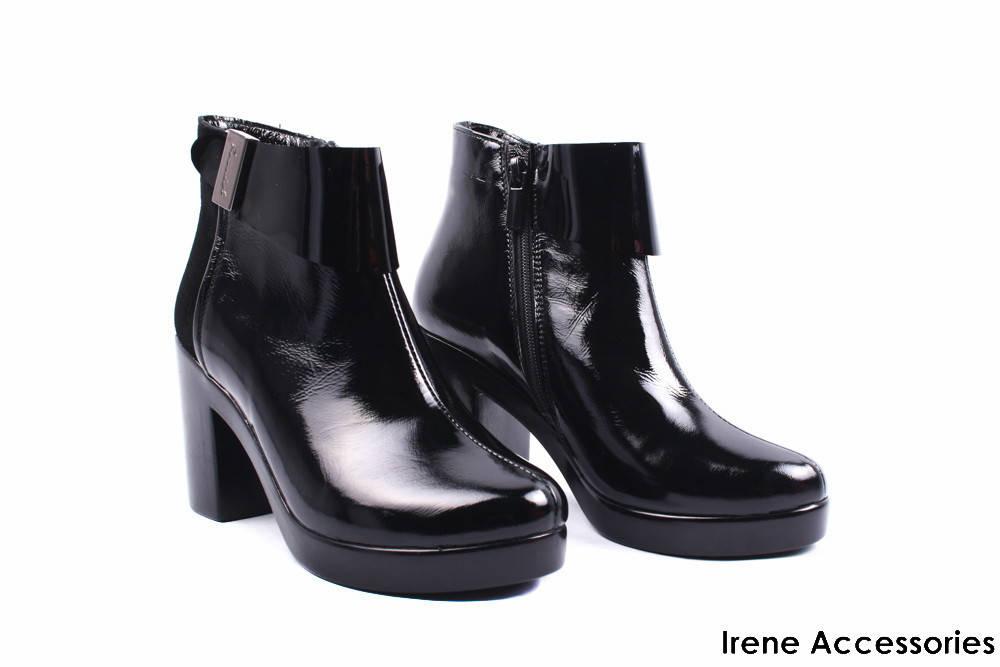 0a65cc930ee3 Ботильоны женские комбинированные Liliya (ботинки стильные, каблук, черные,  Украина)