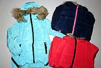 Куртка удлиненная на меховой подкладке /еврозима/ для девочек Grace 4-6,10лет Цвет:синий