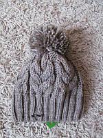 Зимняя шапка женская вязаная коричневая, вязаные шапки