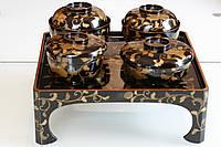 Лаковый столик-поднос с 4 мисками. Мэйдзи-Тайсё. 1890–1920е. годы