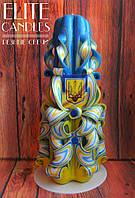 Резная Патриотическая свеча ручной работы с Гербом Украины, 22 см высотой
