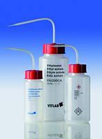 Безопасные промывалки с широкой горловиной VITsafe с маркировкой, PP/PE-LD Этикетка Метиленхлорид Объем 500 мл Резьба 45 GL Материал PE-LD