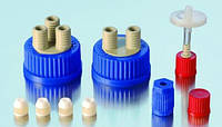 Гибкие системы подсоединений к бутылкам DURAN® с резьбой GL45 Описание Набор для компенсации давления, фильтр 0.2 мкм, для 2/3 портов с винтовыми крыш