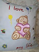 Детская вышитая с 3D эфектом наволочка с подушечкой «Мишка Тедди»