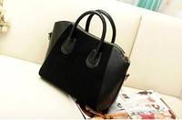 Черная сумка небольшого размера Нубук с замшевой вставкой